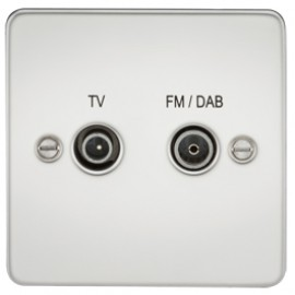 Knightsbridge FP0160PC 1G TV/FM DAB Screened Duplex Outlet Polished Chrome