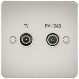 Knightsbridge FP0160PL 1G TV/FM DAB Screened Duplex Outlet Pearl