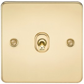Knightsbridge FP1TOGPB 10A 1G 2 Way Toggle Switch Polished Brass