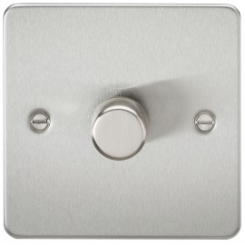 Knightsbridge FP2171BC Flat Plate 1G 2 Way 40-400W Dimmer - Brushed Chrome