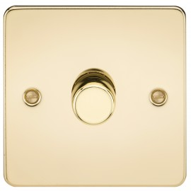 Knightsbridge FP2171PB Flat Plate 1G 2 Way 40-400W Dimmer - Polished Brass