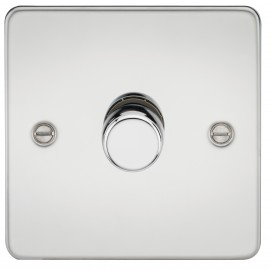 Knightsbridge FP2171PC Flat Plate 1G 2 Way 40-400W Dimmer - Polished Chrome