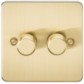 Knightsbridge FP2172BB FLAT PLATE 2G 2 WAY 40-400W DIMMER - BRUSHED BRASS