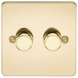 Knightsbridge FP2172PB FLAT PLATE 2G 2 WAY 40-400W DIMMER - POLISHED BRASS