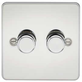 Knightsbridge FP2172PC FLAT PLATE 2G 2 WAY 40-400W DIMMER - POLISHED CHROME