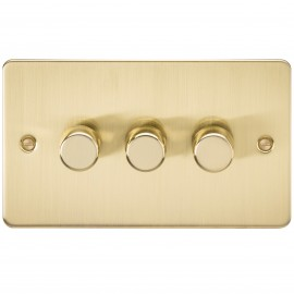 Knightsbridge FP2173BB FLAT PLATE 3G 2 WAY 40-400W DIMMER - BRUSHED BRASS