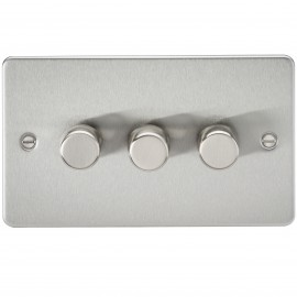 Knightsbridge FP2173BC FLAT PLATE 3G 2 WAY 40-400W DIMMER - BRUSHED CHROME