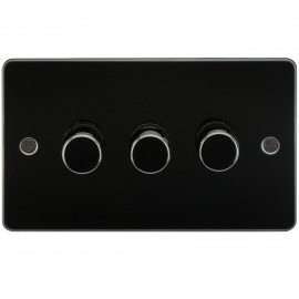 Knightsbridge FP2173GM FLAT PLATE 3G 2 WAY 40-400W DIMMER - GUNMETAL
