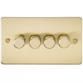 Knightsbridge FP2174BB FLAT PLATE 4G 2 WAY 40-400W DIMMER - BRUSHED BRASS