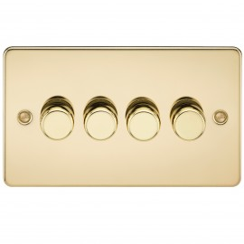 Knightsbridge FP2174PB FLAT PLATE 4G 2 WAY 40-400W DIMMER - POLISHED BRASS