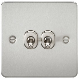 Knightsbridge FP2TOGBC 10A 2G 2 Way Toggle Switch Brushed Chrome