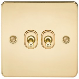 Knightsbridge FP2TOGPB 10A 2G 2 Way Toggle Switch Polished Brass