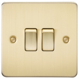 Knightsbridge FP3000BB 10A 2G 2 Way Switch Brushed Brass