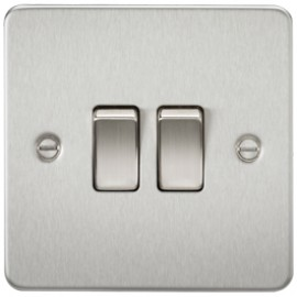 Knightsbridge FP3000BC 10A 2G 2 Way Switch Brushed Chrome