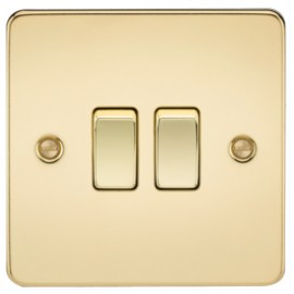 Knightsbridge FP3000PB 10A 2G 2 Way Switch Polished Brass