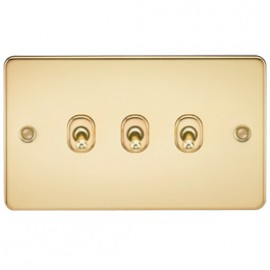 Knightsbridge FP3TOGPB 10A 3G 2 Way Toggle Switch Polished Brass