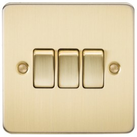 Knightsbridge FP4000BB 10A 3G 2 Way Switch Brushed Brass