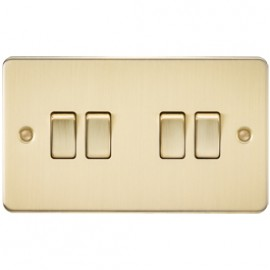 Knightsbridge FP4100BB 10A 4G 2 Way Switch Brushed Brass