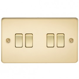 Knightsbridge FP4100PB 10A 4G 2 Way Switch Polished Brass