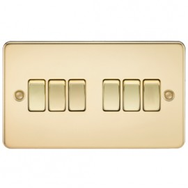 Knightsbridge FP4200PB 10A 6G 2 Way Switch Polished Brass
