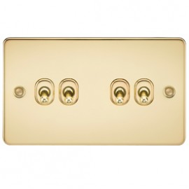 Knightsbridge FP4TOGPB 10A 4G 2 Way Toggle Switch Polished Brass