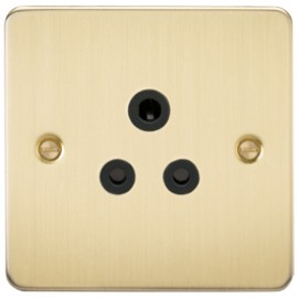 Knightsbridge FP5ABB 5A 1G Round Pin Socket Brushed Brass & Black