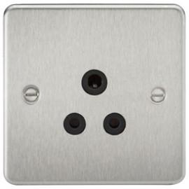 Knightsbridge FP5ABC 5A 1G Round Pin Socket Brushed Chrome & Black