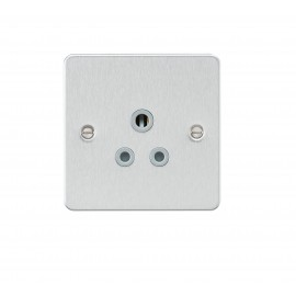 Knightsbridge FP5ABCG Flat plate 5A unswitched socket - brushed chrome with grey insert