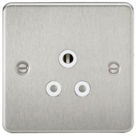 Knightsbridge FP5ABCW 5A 1G Round Pin Socket Brushed Chrome & White