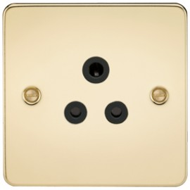 Knightsbridge FP5APB 5A 1G Round Pin Socket Polished Brass & Black