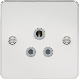 Knightsbridge FP5APCG Flat plate 5A unswitched socket - polished chrome with grey insert