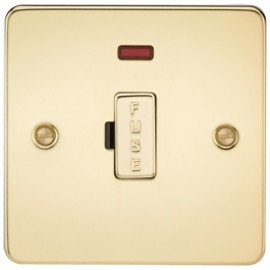 Knightsbridge FP6000NPB 13A 1G Fused Spur Unit With Neon Polished Brass
