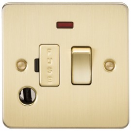 Knightsbridge FP6300FBB 13A 1G Switched Fused Spur Unit With Neon & Flex Outlet Brushed Brass