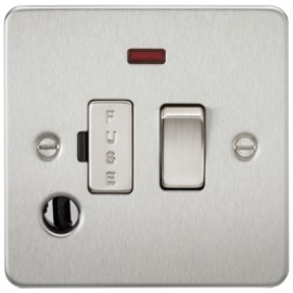 Knightsbridge FP6300FBC 13A 1G Switched Fused Spur Unit With Neon & Flex Outlet Brushed Chrome