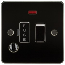 Knightsbridge FP6300FGM 13A 1G Switched Fused Spur Unit With Neon & Flex Outlet Gunmetal