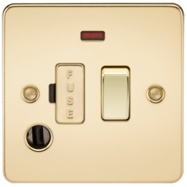 Knightsbridge FP6300FPB 13A 1G Switched Fused Spur Unit With Neon & Flex Outlet Polished Brass