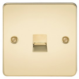 Knightsbridge FP7300PB 1G Telephone Master Socket Polished Brass