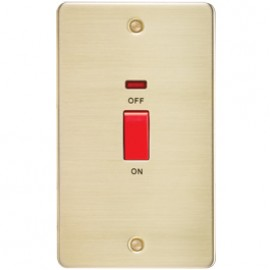 Knightsbridge FP8332NBB 45A 2G DP Switch With Neon Brushed Brass