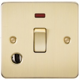 Knightsbridge FP8341FBB 20A 1G DP Switch With Neon & Cord Outlet Brushed Brass