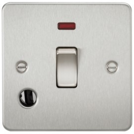 Knightsbridge FP8341FBC 20A 1G DP Switch With Neon & Cord Outlet Brushed Chrome