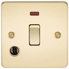 Knightsbridge FP8341FPB 20A 1G DP Switch With Neon & Cord Outlet Polished Brass