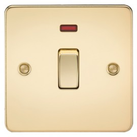 Knightsbridge FP8341NPB 20A 1G DP Switch With Neon Polished Brass