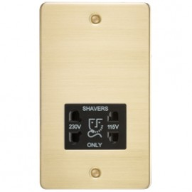 Knightsbridge FP8900BB 115V/240V Dual Voltage Shaver Socket Brushed Brass & Black