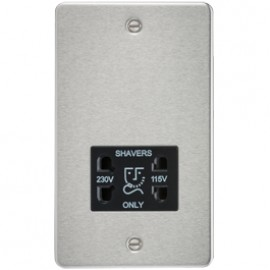 Knightsbridge FP8900BC 115V/240V Dual Voltage Shaver Socket Brushed Chrome & Black