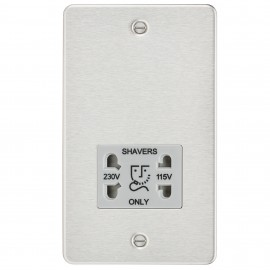 Knightsbridge FP8900BCG Flat plate 115/230V dual voltage shaver socket - brushed chrome with grey insert