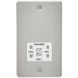Knightsbridge FP8900BCW 115V/240V Dual Voltage Shaver Socket Brushed Chrome & White