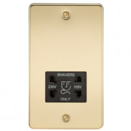 Knightsbridge FP8900PB 115V/240V Dual Voltage Shaver Socket Polished Brass & Black