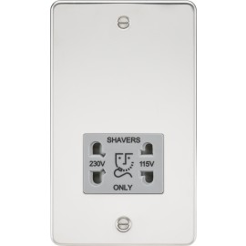 Knightsbridge FP8900PCG Flat Plate 115/230V dual voltage shaver socket - polished chrome with grey insert