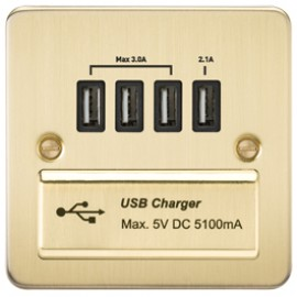 Knightsbridge FPQUADBB 1G Quad USB Charger Outlet Brushed Brass & Black