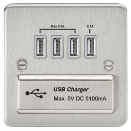 Knightsbridge FPQUADBCG Flat Plate quad USB charger outlet - Brushed chrome with grey insert